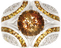 Estate Jewelry:Rings, Topaz, Diamond, White Gold Ring. The ring centers a roundfantasy-cut sherry colored topaz weighing approximately 5.00 car...