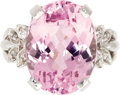 Estate Jewelry:Rings, Kunzite, Diamond, White Gold Ring. The ring centers an oval-shapedkunzite measuring 15.85 x 12.00 x 8.40 mm and weighing ...