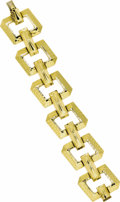 Estate Jewelry:Bracelets, Gold Bracelet. The 18k yellow gold bracelet features hammerfinished geometric links, completed by a box clasp with figure...