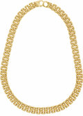 Estate Jewelry:Necklaces, Gold Necklace. The panther link necklace is designed in 18k yellow gold. Gross weight 42.70 grams.. Length: 16 inches...