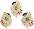 Estate Jewelry:Coin Jewelry and Suites, Diamond, Ruby, Sapphire, Emerald, Gold Jewelry Suite. The floralthemed suite includes: one pair of earrings, each highlig...