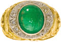 Estate Jewelry:Rings, Gentleman's Emerald, Diamond, Gold Ring. The Irish sea serpent themed ring is highlighted by an oval-shaped emerald caboch...
