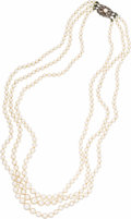 Estate Jewelry:Pearls, Cultured Pearl, Silver Necklace, Mikimoto. The necklace is composed of cultured pearls ranging in size from 7.50 - 7.00 mm...