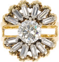 Estate Jewelry:Rings, Diamond, Gold Ring. The ring features a round brilliant-cut diamond measuring 7.20 x 7.20 x 3.95 mm and weighing approxima...