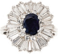 Estate Jewelry:Rings, Sapphire, Diamond, Platinum Ring. The ring features an oval-shaped sapphire measuring 7.50 x 5.50 mm and weighing approxim...