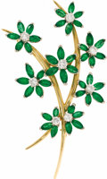 Estate Jewelry:Brooches - Pins, Diamond, Emerald, Gold Brooch. The flower motif brooch features full-cut diamonds weighing a total of approximately 1.35 c...