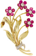 Estate Jewelry:Brooches - Pins, Diamond, Ruby, Gold Brooch. The brooch, designed as a floral bouquet, features full-cut diamonds weighing a total of appro...