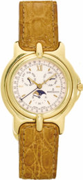 "Timepieces:Wristwatch, Bertolucci Men's Gold ""Pulchra"" Leather Strap Wristwatch, Modern.Case: 34 mm, circular 18k yellow gold with pressure clos..."