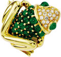 Estate Jewelry:Brooches - Pins, Emerald, Diamond, Gold Brooch. The brooch, designed as a frog, features full-cut diamonds weighing a total of approximatel...