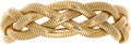 Estate Jewelry:Bracelets, Gold Bracelet, Forstner. The soft claspless bangle features fourexpandable 14k yellow gold snake chains braided together....