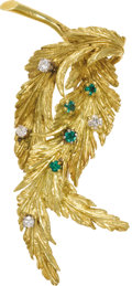 Estate Jewelry:Brooches - Pins, Emerald, Diamond, Gold Brooch. The brooch, designed as entwinedleaves, features full and single-cut diamonds weighing a t...