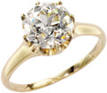 Estate Jewelry:Rings, Diamond, Gold Ring. The ring centers a European-cut diamondmeasuring 9.30 x 5.90 mm and weighing approximately 3.00 carat...