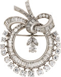 Estate Jewelry:Brooches - Pins, Diamond, Platinum Brooch. The wreath themed brooch features baguette-cut diamonds weighing a total of approximately 2.05 c...