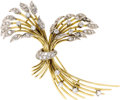 Estate Jewelry:Brooches - Pins, Diamond, Platinum, Gold Brooch. The sheaves of wheat themed brooch features full and single-cut diamonds weighing a total ...