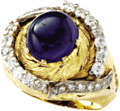 Estate Jewelry:Rings, Sapphire, Diamond, Platinum, Gold Ring. The ring is highlighted by a sapphire cabochon measuring 9.50 x 10.00 x 7.00 mm an...