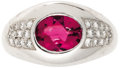 Estate Jewelry:Rings, Pink Tourmaline, Diamond, Gold Ring, Mauboussin. The ring features an oval-shaped pink tourmaline measuring approximately ...