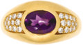 Estate Jewelry:Rings, Amethyst, Diamond, Gold Ring, Mauboussin. The ring features an oval-shaped amethyst cabochon measuring approximately 8.50 ...