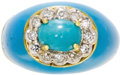 Estate Jewelry:Rings, Turquoise, Enamel, Diamond Gold Ring. The ring centers anoval-shaped turquoise cabochon measuring 6.00 x 4.50 mm, framed ...