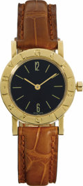 Timepieces:Wristwatch, Bvlgari, Lady's Gold, Leather Strap Wristwatch, Modern. Case: 26mm, 18k yellow gold, soldered lugs, case No. BB26GL*F3720...