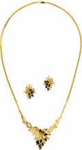 Estate Jewelry:Other , Diamond, Sapphire, Gold Jewelry Suite. The floral themed suite includes: a pair of earrings featuring marquise-cut sapphir...
