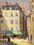 Texas:Early Texas Art - Regionalists, LLOYD GOFF (1908-1982). Untitled Paris Street with Green Awning,1928. Oil on unstretched canvas. 9 1/2in. x 7 1/4in.. Unsig...