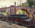 Texas:Early Texas Art - Regionalists, LLOYD GOFF (1908-1982). Untitled Paris Barges, 1928. Oil on linen.9 3/4in. x 12in.. Signed and dated lower left. One can ...