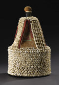 African: , Yoruba (Nigeria). House of the Head, ile ori. Leather, cowryshells, cloth. Height: 16 ¾ inches Dia.: 10 ½ inches. T...