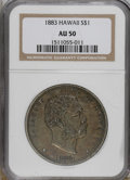 Coins of Hawaii: , 1883 $1 Hawaii Dollar AU50 NGC. The akahi dala, or silver dollar,is the scarcest of the vari...