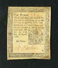 Colonial Notes:Pennsylvania, Pennsylvania April 20, 1781 6d Extremely Fine. A wonderfully margined and lightly circulated example of this much scarcer is...