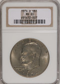 Eisenhower Dollars, 1974-D $1 MS65 NGC. NGC Census: (992/243). PCGS Population (1061/364). Mintage: 45,517,000. Numismedia Wsl. Price for NGC/P...