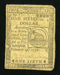 Colonial Notes:Continental Congress Issues, Continental Currency February 17, 1776 $1/6 Fine....