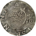 1652 6PENCE Willow Tree Sixpence--Plugged--NCS. Fine Details....(PCGS# 15)