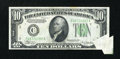 Error Notes:Foldovers, Fr. 2006-C $10 1934A Federal Reserve Note. Very Fine-ExtremelyFine.. ...