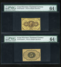 Fractional Currency:First Issue, Fr. 1231SP 5c First Issue Narrow Margin Pair PMG ChoiceUncirculated 64 EPQ.... (Total: 2 notes)