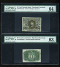 Fractional Currency:Second Issue, Fr. 1244SP 10c Second Issue Narrow Margin Pair PMG Choice Uncirculated 64/63.... (Total: 2 notes)
