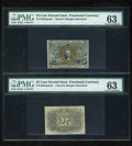 Fractional Currency:Second Issue, Fr. 1283SP 25c Second Issue Narrow Margin Pair PMG Choice Uncirculated 63.... (Total: 2 notes)