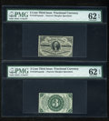 Fractional Currency:Third Issue, Fr. 1227SP 3c Third Issue Narrow Margin Pair PMG Uncirculated 62 EPQ.... (Total: 2 notes)