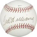 Autographs:Baseballs, Ted Williams Single Signed Baseball. A man known for his elegancewith his weapon of choice in the batter's box, Ted Willia...