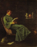 Fine Art - Painting, American:Antique  (Pre 1900), WILLIAM SIDNEY MOUNT (American, 1807-1868). Portrait of a ManReading. Oil on artists' board. 7-7/8 x 5-1/2 inches (20.0...