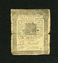 Colonial Notes:Pennsylvania, Pennsylvania October 1, 1756 10s Good-Very Good. These notes wereprinted by Benjamin Franklin & David Hall, making them des...