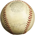Autographs:Baseballs, 1938 New York Yankees Team Signed Baseball. Two weeks before theYanks would meet the Boston Red Sox on Opening Day at Fenw...