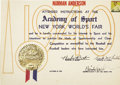 "Autographs:Others, 1940 Babe Ruth Signed ""Academy of Sport"" Certificate. The trylon and perisphere, celebrated symbols of the most famous Worl..."
