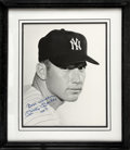 Autographs:Photos, 1980's Mickey Mantle Signed Large Photograph. Brilliant studio portrait of a youthful Commerce Comet is expanded to dimensi...