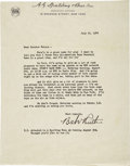 "Autographs:Letters, 1944 Babe Ruth Signed Letter. Simply the finest Babe Ruth autograph in existence, provided here upon a typed letter on ""Spa..."