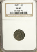 1863-S 10C AU50 NGC. NGC Census: (1/19). PCGS Population (2/12). Mintage: 157,500. Numismedia Wsl. Price for NGC/PCGS co...
