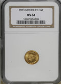 Commemorative Gold: , 1903 G$1 Louisiana Purchase/McKinley MS64 NGC. NGC Census:(445/763). PCGS Population (788/1021). Mintage: 17,500. Numismed...