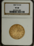 Liberty Eagles: , 1847-O $10 VF30 NGC. NGC Census: (6/629). PCGS Population (9/405).Mintage: 571,500. Numismedia Wsl. Price for NGC/PCGS coi...