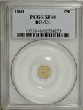 California Fractional Gold: , 1860 25C Liberty Octagonal 25 Cents, BG-731, Low R.5, XF40 PCGS.PCGS Population (1/37). NGC Census: (0/8). (#10558)...
