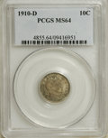 Barber Dimes: , 1910-D 10C MS64 PCGS. PCGS Population (19/17). NGC Census: (26/7). Mintage: 3,490,000. Numismedia Wsl. Price for NGC/PCGS c...
