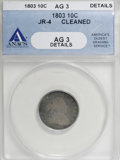 Early Dimes: , 1803 10C --Cleaned--ANACS. AG3 Details. JR-4. NGC Census: (3/28).PCGS Population (5/35). Mintage: 33,040. Numismedia Wsl. ...